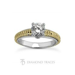 0.79ct tw D-VS1 VG Round AGI Genuine Diamonds 14k Gold Engraved Accents Ring 4mm