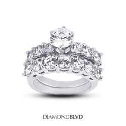 2.62 CT ESI2Ex Cut Round AGI Earth Mined Diamonds 18K Basket Wedding Set 8.2gr