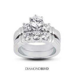 2.11ct HI1VG Round AGI Earth Mined Diamonds Platinum Vintage Wedding Set 20.9g