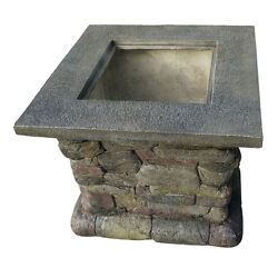 New Outdoor BBQ Patio Firepit w Matte Steel Fire Bowl Magnesia Base Firepit