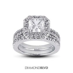 2.06ct EVS2Ex Cut Princess AGI Earth Mined Diamonds 18K Halo Wedding Set 12.7g