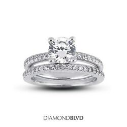 2.01 CT HVS2Ex Round AGI Earth Mined Diamonds Platinum Classic Bridal Set 13gr