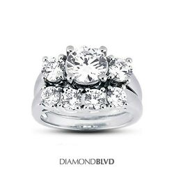 1.92ct ESI1Ex Round AGI Earth Mined Diamonds Platinum Trellis Bridal Set 12.3g