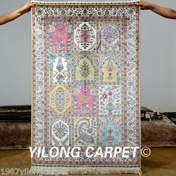 Yilong 3'x4.5' Handmade Silk Area Rugs Pictorial Handcraft Original Carpets 0565