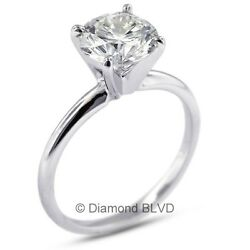 1.53 CT HSI3Ex Round AGI Earth Mined Diamond 18KW Classic Solitaire Ring 3.3gr
