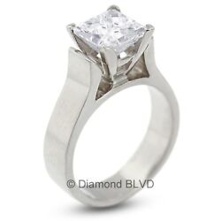 1.10 CT ISI1Ex Princess Certified Diamond 18KW Cathedral Engagement Ring 8.2gr