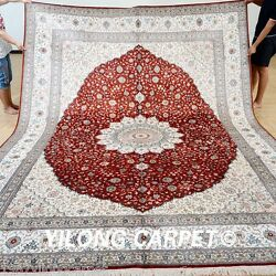 Yilong 9'x12' Oversize Persian Silk Area Rugs Original Red Carpets Handmade 0918