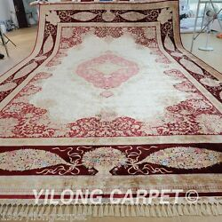 Yilong 14.2'x20' Oversize Silk Area Rugs Hand-knotted Big Carpets Handmade 1596
