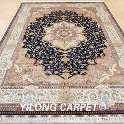 Yilong 9'x12' Large Persian Silk Rugs Hand-knotted Indoor Carpets Handmade 0338