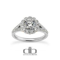 1.57ct GSI1Ex Round Earth Mined Diamonds 14K Halo Gallery Engagement Ring 4.5g