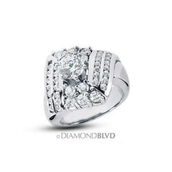 2.41ct FVS2Ex Round Earth Mined Diamonds 950PL Wide Band Engagement Ring 23.2g