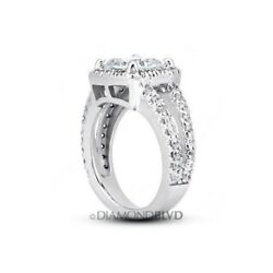 2.84ct FSI2Ex Radiant AGI Earth Mined Diamonds Platinum Split Band Ring 12.8gr