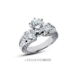 5.52 CT FI1Ex Round Earth Mined Diamonds 950PL Three-Stone Accents Ring 15.7gr