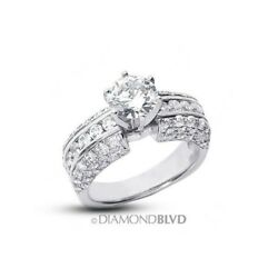3.54ct IVS2Ex Round Certified Diamonds 18K Three-Pave Rows Accents Ring 13.2gr
