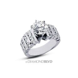 4.31ct DSI1VG Round AGI Earth Mined Diamonds 18K Wide Band Accents Ring 20.3gr