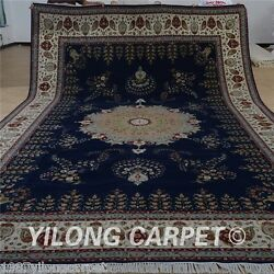 Yilong 10'x16' Oversize Blue Wool Silk Area Rugs Indoor Carpets Hand made 1509