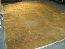 Vintage Art Deco Chinese Rug  Floral Design Hand Knotted Wool 11'-10 x 13'-6