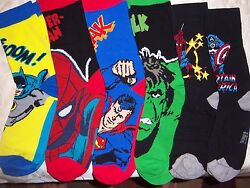 Mens Ladies plus novelty socks BATMAN SPIDER MAN SUPERMAN CAPTAIN AMERICA HULK $8.99