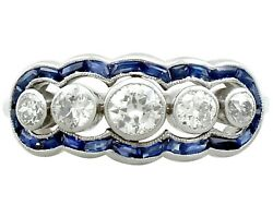 0.70 ct Diamond and 0.28 ct Sapphire 18 ct White Gold Dress Ring - Antique