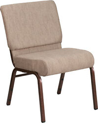 LOT OF 50 21'' EXTRA WIDE BEIGE FABRIC STACKING CHURCH CHAIR- COPPER VEIN FRAME