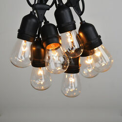 100 ft Foot S14 Outdoor Globe String Lights - Set of 55 S14 Clear Edison Bulbs