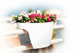 Greenbo XL Railing and Deck Window Box White 2 pack Plant Window Boxe