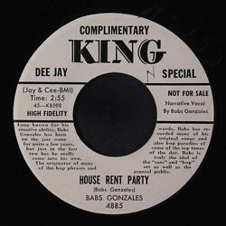 BABS GONZALES: House Rent Party  She's Just Right For Me 45 (dj bio sm wol w
