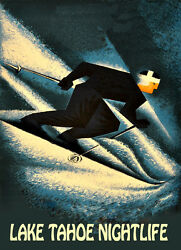 Lake Tahoe Nightlife Ski Skiing Winter Sport USA US Vintage Poster Repro FREE SH
