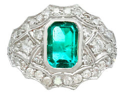 Vintage 1.49 Ct Emerald and 1.15 Ct Diamond Platinum Dress Ring - Circa 1950