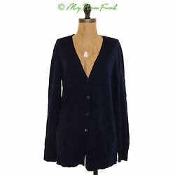 EQUIPMENT BETHEL WOOL CASHMERE BUTTON FRONT CARDIGAN SWEATER NAVY BLUE SMALL B27