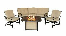 New Outdoor Deep Seating Chairs Sofa Fireplace Table Set 30000 BTU Fire Pit