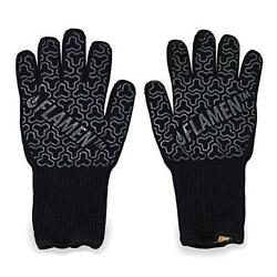 Flamen Extended-Cuff Kevlar BBQ and Fireplace Glove Fireproof Heat-Resistant