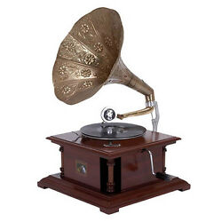 Antique Replica Dark Wood Phonograph Gramophone with Large Engraved Brass Horn