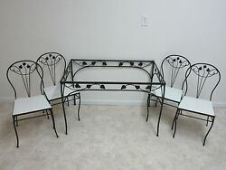 Vintage Iron Outdoor Woodard Patio Dining Table 4 and Chairs Porch Set A