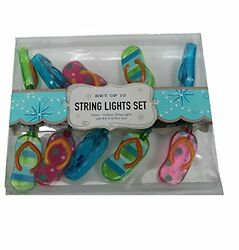 Flip Flop Pool or Patio String Lights 10 Count Outdoor Lightstring New