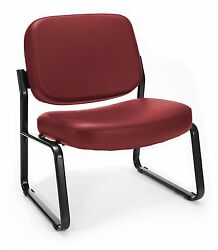 Lot Of 10 OFM Big and Tall Vinyl Armless Guest  Reception Chair Wine