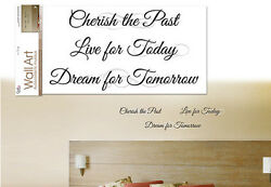 QUOTE: CHERISH THE PAST wall stickers 3 big decals inspirational wall decor $11.95