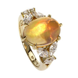 Authentic MIKIMOTO K18 yellow gold  Ring   Fire Opal  f Diamond