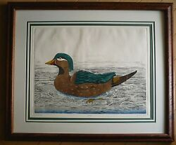 DAN MITRA LISTED COLORED ETCHING Signed PRINT DUCKS WOOD DUCK She Wood Duck