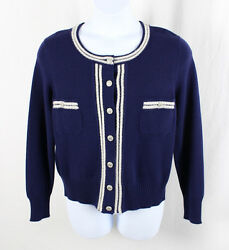 Chanel Auth NWT Navy Blue White Trim Cashmere Cardigan Sweater Top Size 50 18