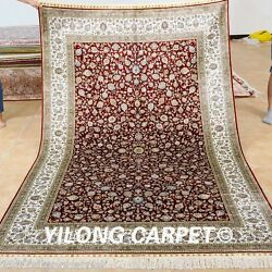 Yilong 5'x8' Red Original Silk Rugs Hand Knotted Medallion Carpets Handmade 1026