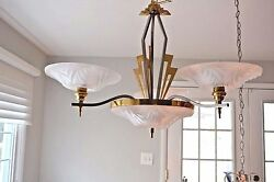 ART DECO 1930'S  MARINER MADE IN SPAIN ALABASTER 5 ARM BRASS CHROME CHANDELIER