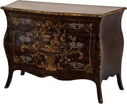 CHEST OF DRAWERS DAVID MICHAEL RUSTIC DECORATED PAINTED BLACK ANTIQUE AN