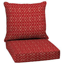 Outdoor Patio High Back Cushion Red Replacement For Deep Seat Chair Furniture