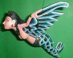 Dewi Sri Rice Goddess Flying Hanging Lady hand made Large 15 inch RED $67.00