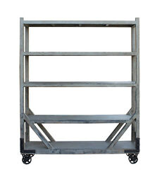 Distressed Gray Display Curio Cabinet Room Divider on Wheels cs2776