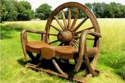 Rustic Teak Wagon Wheel Bench Outdoor Furniture Patio Pool Deck Garden Deck