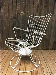 Vintage HOMECREST PATIO CHAIR swivel white mid century modern porch metal bounce