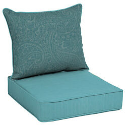 Outdoor Patio High Back Cushion Blue Replacement For Deep Seat Chair Furniture