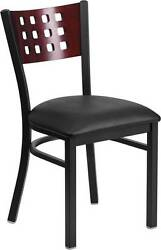 LOT OF 65 BLACK DECORATIVE CUTOUT BACK METAL RESTAURANT CHAIR - MAHOGANY WOOD